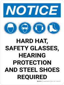 Notice: Hard Hat Safety Glasses Hearing Protection Steel Toe Shoes Required Portrait with Icon - Wall Sign