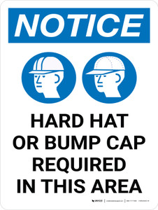 Notice: Hard Hats Bump Caps Required Portrait with Icon - Wall Sign