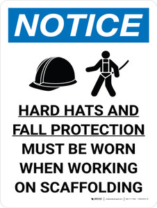 Notice: Hard Hats Fall Protection When Working On Scaffold Portrait with Icon - Wall Sign