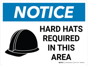 Notice: Hard Hats Required In This Area Landscape with Icon - Wall Sign