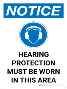 Notice: Hearing Protection Must be Worn in This Area Portrait with Icon - Wall Sign