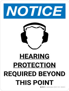 Notice: Hearing Protection Required Beyond This Point Portrait with Icon - Wall Sign