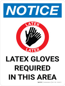 Notice: Latex Gloves Required In This Area Portrait with Icon - Wall Sign