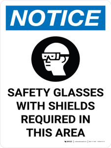 Notice: PPE Safety Glasses Shields Required in Area Portrait with Icon - Wall Sign