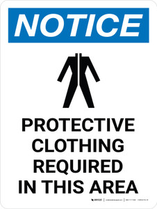 Notice: Protective Clothing Required In This Area Portrait with Icon - Wall Sign
