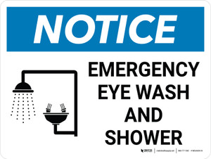 Notice: Emergency Eye Wash and Shower Landscape with Icon - Wall Sign