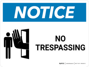 Notice: No Trespassing Landscape with Icon - Wall Sign