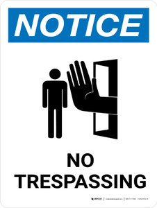 Notice: No Trespassing Portrait with Icon - Wall Sign