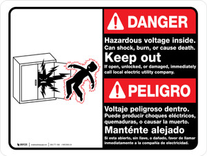 Danger: Hazardous Voltage Inside Can Shock Burn Or Cause Death Billingual Ansi Landscape - Wall Sign