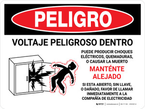 Danger: Hazardous Voltage Inside - Keep Out Spanish Landscape - Wall Sign
