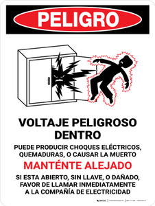 Danger: Hazardous Voltage Inside - Keep Out Spanish Portrait - Wall Sign