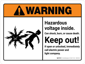 Warning: Hazardous Voltage Inside Can Shock, Burn, Or Cause Death With Landscape - Wall Sign