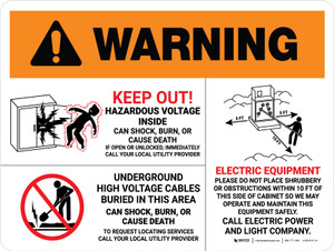 Warning: Hazardous Voltage And Equipment - Multiple Hazards Landscape - Wall Sign