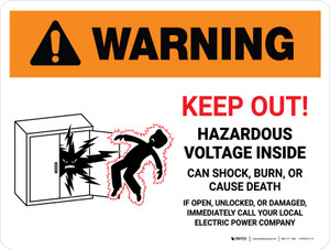 Warning: Keep Out - Hazardous Voltage Inside Landscape - Wall Sign