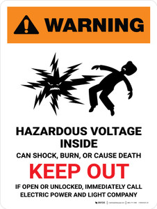 Warning: Hazardous Voltage Inside Can Shock, Burn, Or Cause Death - Keep Out Portrait - Wall Sign