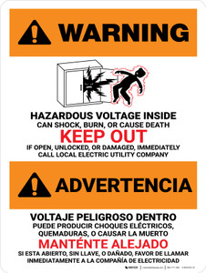 Warning: Hazardous Voltage Inside Can Shock, Burn, Or Cause Death - Keep Out Bilingual Spanish Landscape - Wall Sign
