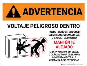 Warning: Hazardous Voltage Inside Can Shock, Burn, Or Cause Death - Keep Out In Spanish Landscape - Wall Sign