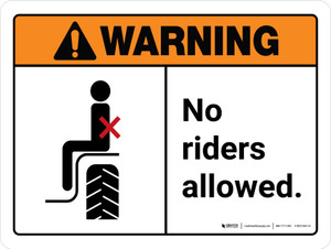 Warning: No Riders Allowed ANSI Landscape - Wall Sign