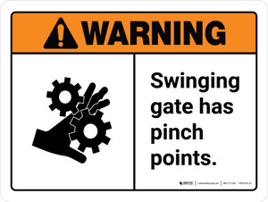 Warning: Swinging Gate Has Pinch Points ANSI Landscape - Wall Sign