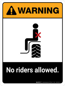 Warning: No Riders Allowed ANSI Portrait - Wall Sign