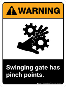 Warning: Swinging Gate Has Pinch Points ANSI Portrait - Wall Sign