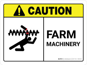 Caution: Farm Machinery ANSI Landscape - Wall Sign