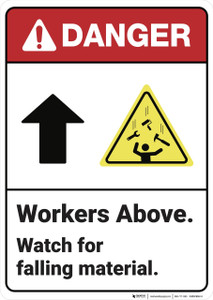 Danger: Workers Above Watch for Falling Material ANSI - Wall Sign