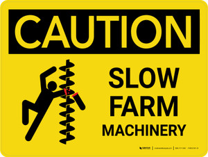 Caution: Slow Farm Machinery Landscape - Wall Sign