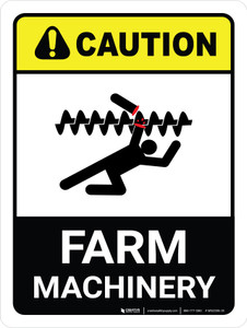 Caution: Farm Machinery ANSI Portrait - Wall Sign