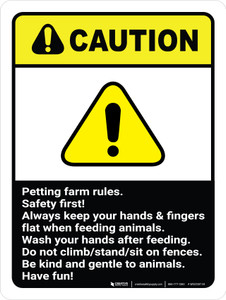 Caution: Petting Farm Rules Safety First ANSI Portrait - Wall Sign