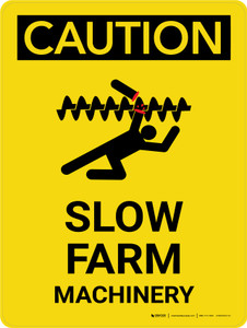 Caution: Slow Farm Machinery Portrait - Wall Sign