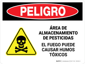 Danger: Pesticide Storage Area Fire Spanish Landscape - Wall Sign