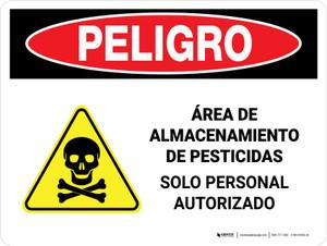 Danger: Pesticide Storage Area Personnel Only Spanish Landscape - Wall Sign