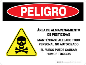 Danger: Pesticide Storage Unauthorized Keep Out Spanish Landscape - Wall Sign