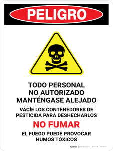 Danger: All Unauthorized Personnel Keep Out Empty Spanish Portrait - Wall Sign
