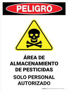 Danger: Pesticide Storage Area Personnel Only Spanish Portrait - Wall Sign