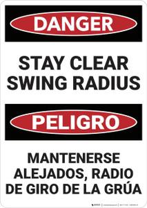 Danger: Stay Clear Swing Radius Bilingual - Wall Sign