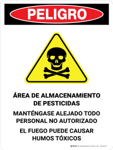 Danger: Pesticide Storage Unauthorized Keep Out Spanish Portrait - Wall Sign