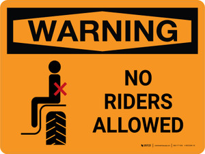 Warning: No Riders Allowed Landscape - Wall Sign