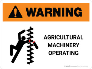 Warning: Agricultural Machinery Operating Landscape - Wall Sign