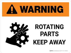 Warning: Rotating Parts Keep Away Landscape - Wall Sign