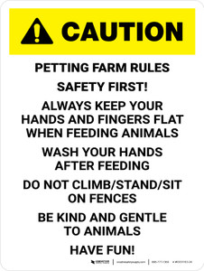 Caution: Petting Farm Rules Safety First Portrait - Wall Sign