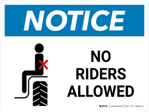 Notice: No Riders Allowed Landscape - Wall Sign