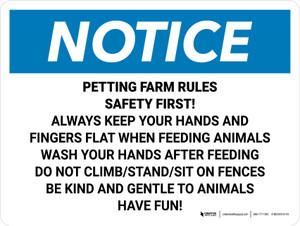 Notice: Petting Farm Rules Safety First Landscape - Wall Sign