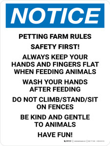 Notice: Petting Farm Rules Safety First Portrait - Wall Sign