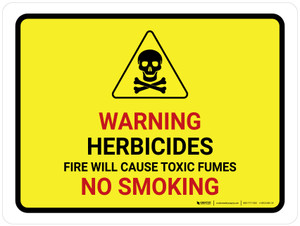 Warning Herbicides Fire No Smoking Landscape - Wall Sign