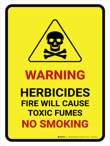 Warning Herbicides Fire No Smoking Portrait - Wall Sign