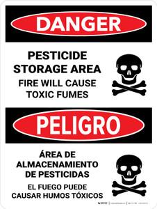 Danger: Pesticide Storage Area Fire Bilingual Portrait - Wall Sign