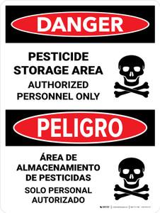 Danger: Pesticide Storage Area Personnel Only Bilingual Portrait - Wall Sign