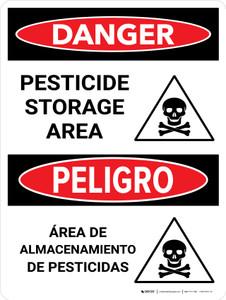 Danger: Pesticide Storage Area Bilingual Portrait - Wall Sign